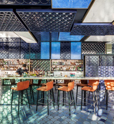 International Tile Design: Congratulations to Equipo Creativo for their design for the Blue Wave Restaurant in Barcelona, Spain.