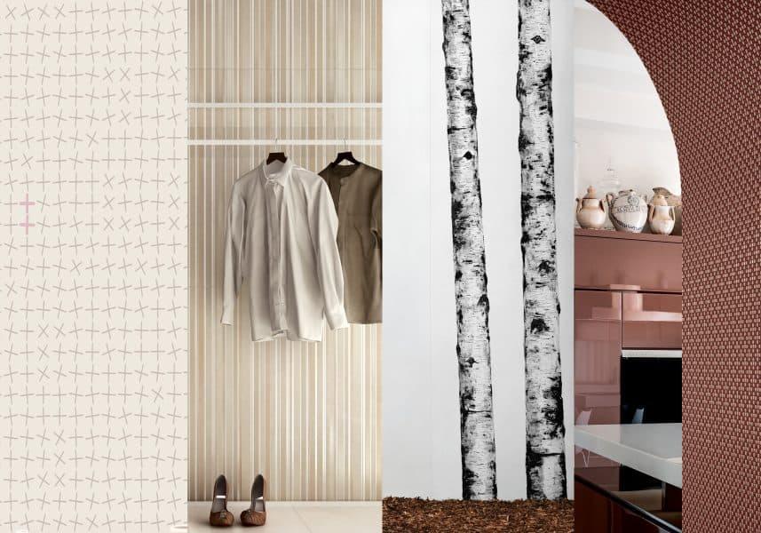(L-R): Ornamenta Oplus, Panaria Urbanature, Cotto d'Este Wonderwall, Appiani Texture